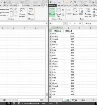 dos hojas de calculo de un Libro en Excel